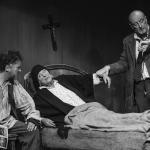 Jim McKeown, Frances Jordan & Noel Comac in The Cripple of Inishmaan (Theatre U Mosta, Perm, Russia, 2016). Photo by Vadim Balakin.